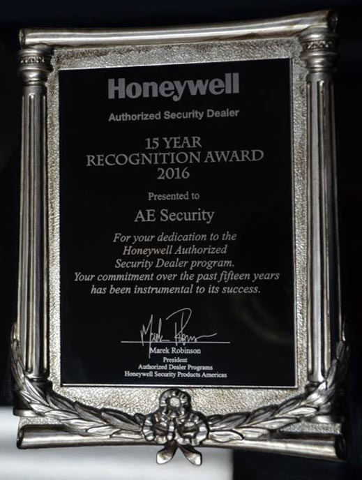 Honeywell Authorized Security Dealer 15 Year Recognition Award